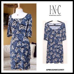 INC 3/4 LONG SLEEVE TIE-FRONT SHIFT DRESS A2C